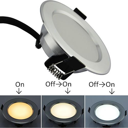 LED 3W Крытый Серебристый светильник Три цвета теплая / чисто / холодный белый вместе в одном Light AC85-265V