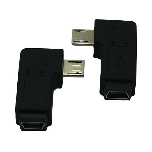 правый / левый под углом 90 градусов микро USB мужчины к женщине расширения адаптера Conventer