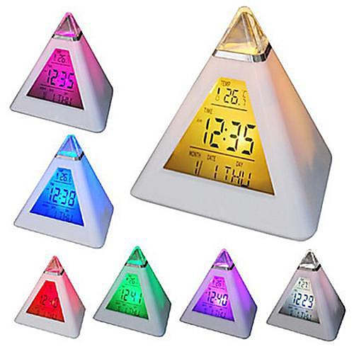 Coway 7 привело цветов изменяя пирамиду в форме цифровой будильник календарь термометр ночник
