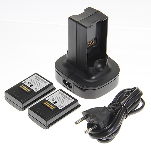 Двойное зарядное устройство с двумя батареями для Xbox 360 (с вилкой европейского типа)