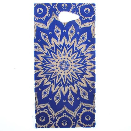 Blue Sun Flowers Transparent Pattern PC Hard Case for Sony Xperia M2 S50h