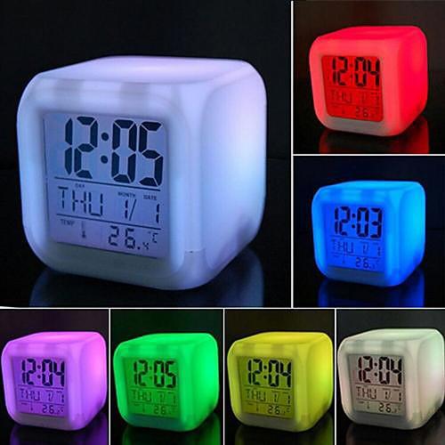 Красочный LED будильник - ночник, со светодиодом