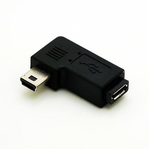 Оставили под углом 90 градусов Mini USB мужчина к Micro USB женский расширение адаптер Conventer мозга разъеме кабеля и бесплатной доставкой фото