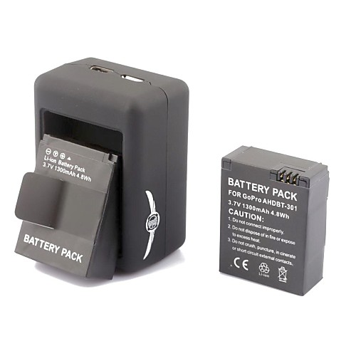 SMJ G-662 Smart Fast Dual-Charging Charger  2x301 Batteries Travelling Set for Gopro Hero3/3