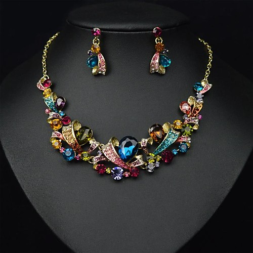 (1 шт) европейские (цветные хрустальные камни), как ожерелье картина сплава и серьги (Hualuo ювелирных изделий)