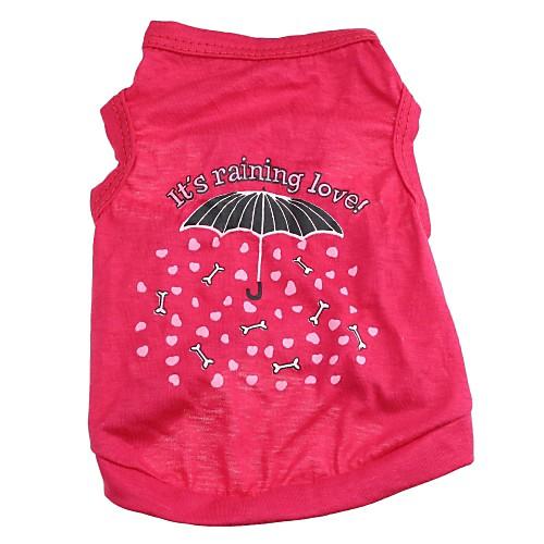 Кошка Собака Футболка Одежда для собак С сердцем Мультипликация Розовый Хлопок Костюм Для домашних животных собака футболка одежда для собак с сердцем камуфляж серый хлопок костюм для домашних животных