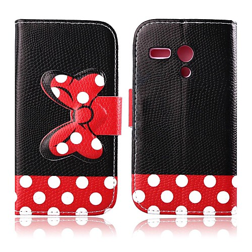 Red Bowknot Pattern PU Leather Full Body Case with Stand for Motorola MOTO G
