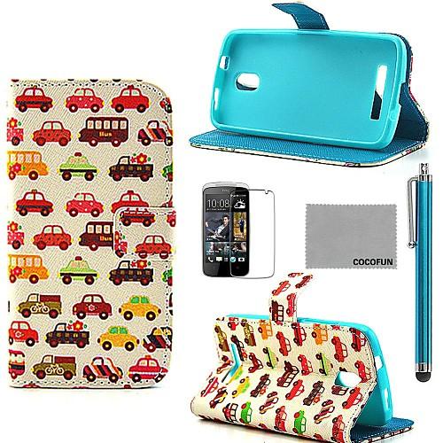Коко fun мелкий рисунок автомобиль PU кожаный чехол с защитой экрана, пера и быть HTC Desire 500