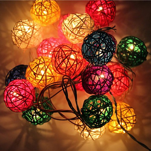 jiawen 4м 20leds RGB LED ротанга мяч строка свет рождества свет шнура для украшения (AC 110-220V) от MiniInTheBox.com INT