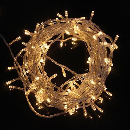 10м 9.6W Рождество вспышка 100-LED теплый белый свет светильника света прокладки (ЕС Plug, AC 220V)