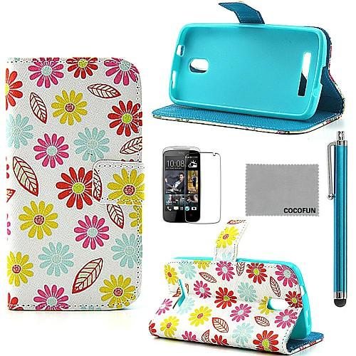Коко fun красочным узором герберы PU кожаный чехол с защитой экрана, пера и быть HTC Desire 500