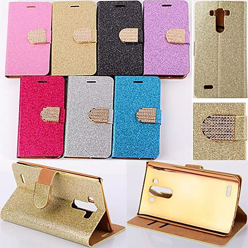 Glitter Powder Style PU Leather Full Body with Stand and Card Slot for LG G3 (Assorted Colors)