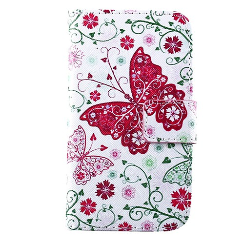 Pink Butterfly Pattern PU Full Body Case with Card Slot for Motorola MOTO X