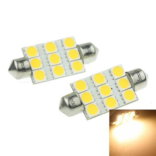 39мм (sv8.5-8) 3w 9x5054smd 160-180lm 3000-3500K теплый белый свет Светодиодная лампа для Номерной знак автомобиля лампы 2шт (dc12-16v)