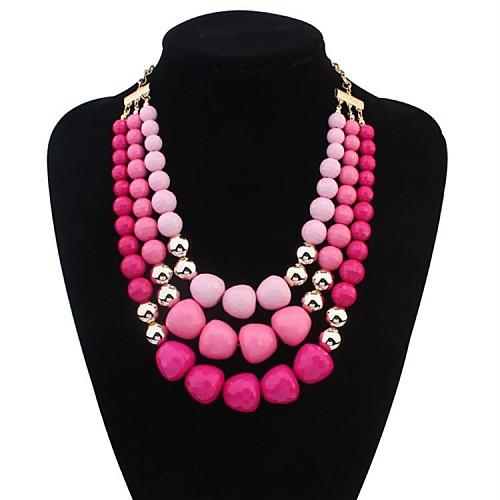 Жен. Слоистые ожерелья Заявление ожерелья - На заказ Многослойный европейский Пурпурный Зеленый Синий Ожерелье Назначение жен  двухслойные зонты слоистые ожерелья