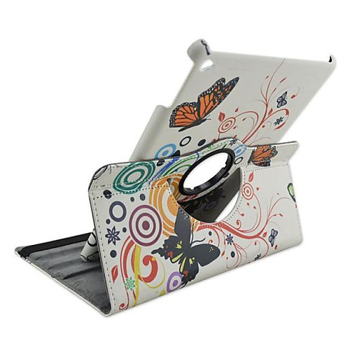 Fashion Painted Butterfly in Love Rotary PU Protect Holster with Stand for iPad Air 2