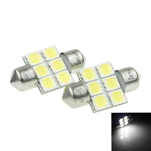 31mm (sv8.5-8) 3w 6x 5054smd 180-220lm 6000-6500K Белый свет светодиодные лампы для автомобилей лампа для чтения 1 пара (dc12-16v)