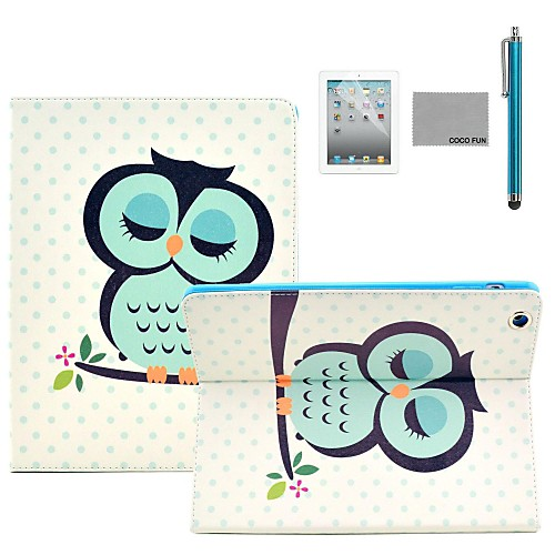 COCO FUN Sleeping Owl Pattern PU Leather Flip Stand Case with Screen Protector and Stylus for Apple iPad 2/3/4
