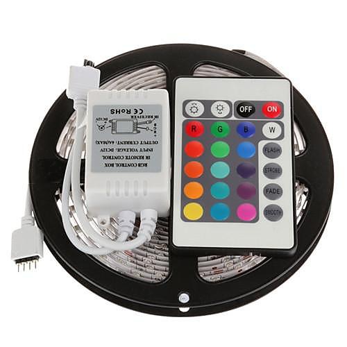 ZDM 5 метров Наборы ламп 300 светодиоды 1 пульт дистанционного управления 24Keys RGB Можно резать Самоклеющиеся Компонуемый 12V 1