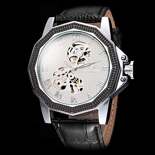 FORSINING Men's Dodecagon Case Cool Skeleton Black Leather Band Automatic Self Wind Wrist Watch