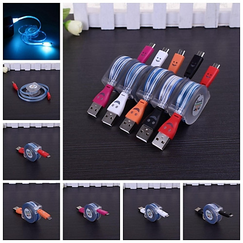 Smile Pattern Lighting to Micro USB Sync Data/Charging Cable for Samsung and Others(Assorted Color)