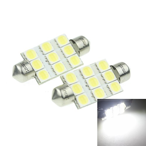 39мм (sv8.5-8) 3w 9x5054smd 160-180lm 6000-6500K белый свет Светодиодная лампа для Номерной знак автомобиля лампы 2шт (dc12-16v)
