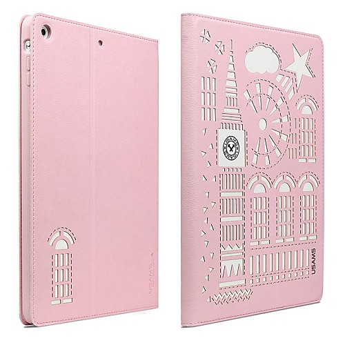 USAMS Stylish Hollow Auto Sleep/Wake Up PC&PU Full Body Case with Stand&Card Slot for iPad Air 2 (Assorted Colors)