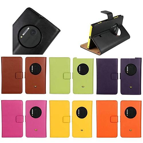 Кейс для Назначение Nokia Lumia 1020 со стендом Чехол Однотонный Твердый Настоящая кожа для Nokia Lumia 1020