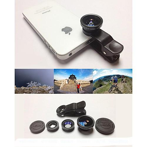 KLW 3 в 1 широкоугольный объектив / макро объектив / 180 рыбий глаз линзы / Kit Набор для iPhone 5/6 / IPad и других стол ipad 2 iphone 6 plus iphone 6 iphone 5s iphone 5 iphone 5c iphone 4 4s универсальный ipad mini 3 ipad air 2 мобильный телефон ipad