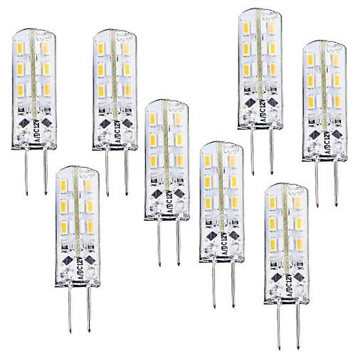 8шт 1 Вт. 100-120 lm G4 LED лампы типа Корн T 24 светодиоды SMD 3014 Диммируемая Тёплый белый DC 12V