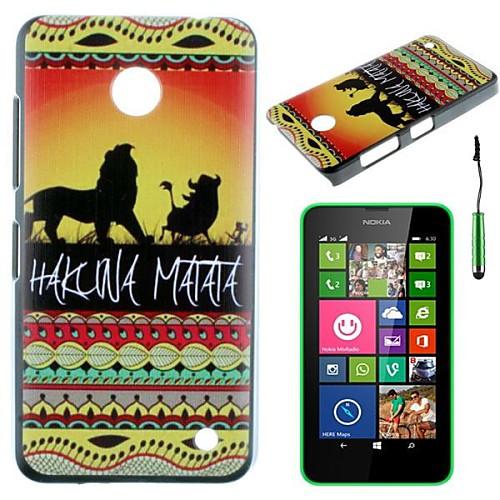 закат львы шаблон шт жесткий задняя крышка корпуса с Стилус для Nokia Lumia N630