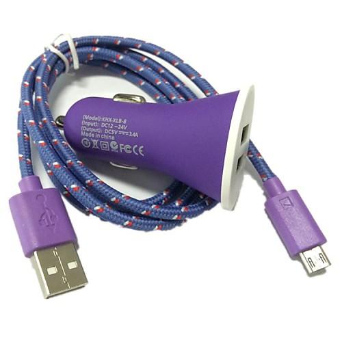 USB Автомобильное зарядное устройство и USB-кабель для Samsung Galaxy S4 S3 i9500 Note 2 (разные цвета), 1M 3.3FT 2-портовый <br>