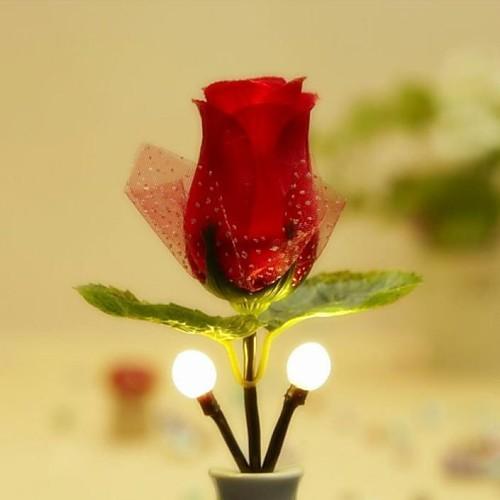 красная роза в стиле теплый белый привело ночь свет (AC100V-240V)