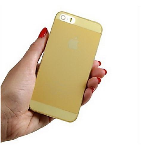 Кейс для Назначение iPhone 5 Apple Кейс для iPhone 5 Ультратонкий Прозрачный Кейс на заднюю панель Сплошной цвет Мягкий ТПУ для iPhone