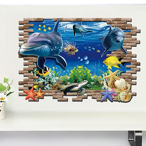 Животные 3D Наклейки 3D наклейки Декоративные наклейки на стены, Винил Украшение дома Наклейка на стену Стена