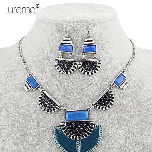 lureme богемные кристаллы сплава ослепить цвет в форме полукруга кулон ожерелье серьги