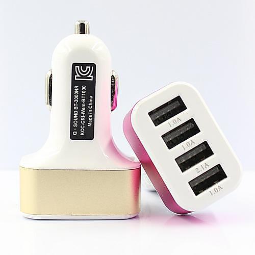 Автомобильное зарядное устройство Зарядное устройство USB Несколько портов 4 USB порта 2.1 A / 1 A DC 12V-24V сетевое зарядное устройство apple usb мощностью 5 вт md813zm a