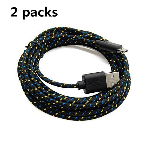 Old Shark™2 упаковки, 2M, 6 футов, Микро-USB плетеный кабель для зарядки и синхронизации данных для Samsung Black от MiniInTheBox.com INT