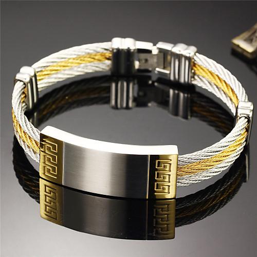 ID браслеты - Браслеты - 1шт - Титановая сталь/Позолота - Свадьба/Для вечеринок/Повседневные/Спорт