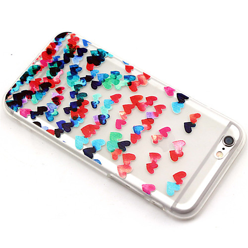 Для Кейс для iPhone 6 / Кейс для iPhone 6 Plus Прозрачный / С узором Кейс для Задняя крышка Кейс для С сердцем Мягкий TPUiPhone 6s Plus/6 от MiniInTheBox INT