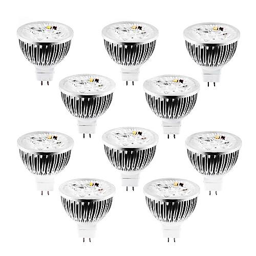 Купить со скидкой 10 шт. 4 W 320 lm MR16 Точечное LED освещение 4 Светодиодные бусины Высокомощный LED Диммируемая Тёп