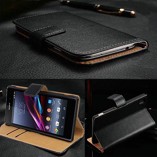 Кейс для Назначение Sony Xperia Z3 / Sony Xperia Z3 / Кейс для Sony Кошелек / Бумажник для карт / со стендом Чехол Однотонный Твердый Настоящая кожа для Sony Xperia Z3 / Sony защитная пленка для мобильных телефонов sony xperia z3 z3