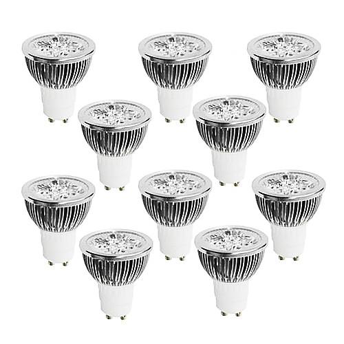 10 шт. 4 Вт. 400-450 lm GU10 Точечное LED освещение 4 светодиоды Высокомощный LED Диммируемая Тёплый белый Холодный белый Белый 220-240