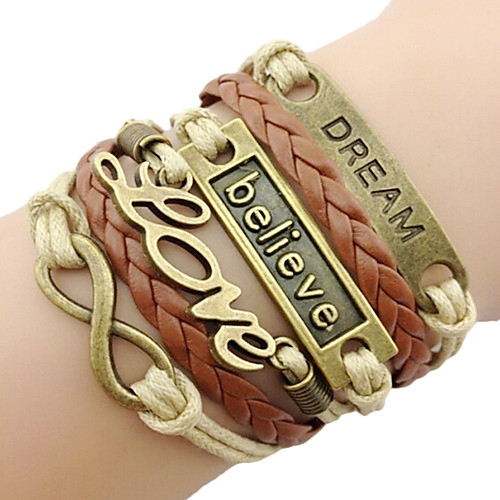 Layered Plaited Wrap woven Charm Bracelet Leather Bracelet Leather Love Infinity Friendship Ladies Personalized Vintage Basic European Bracelet Jewelry Brown For Christmas Gifts Daily Casual Sports