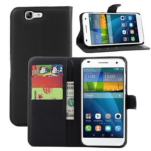 Кейс для Назначение Huawei G7 Huawei Кейс для Huawei Бумажник для карт Кошелек со стендом Флип Чехол Сплошной цвет Твердый Кожа PU для аккумулятор для мобильных телефонов htc desire g7 a8181 g7 3500