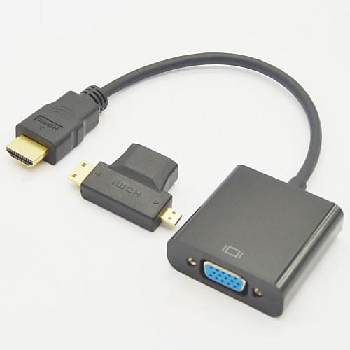 3-в-1 HDMI Женский к Mini HDMI мужчина и Micro HDMI штырем HDMI v1.3 с VGA м / ж кабеля 3 в 1 порт дисплея dp мужчина к hdmi dvi vga женский адаптер для портативных пк белый