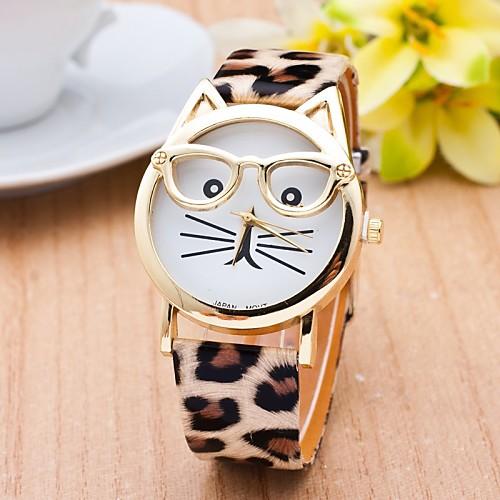 Жен. Модные часы Кварцевый Кошка PU Группа Мультфильмы Леопард Черный Белый Синий Коричневый Розовый Разноцветный Бежевый Роуз <br>