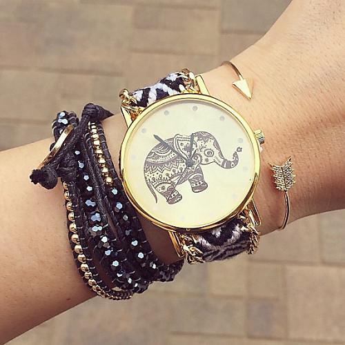 Женские Модные часы Часы-браслет Кварцевый Материал Группа Цветы Богемные Черный марка <br>