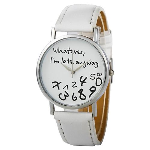 Женские Модные часы Кварцевый PU Группа Часы с текстом Черный Белый от MiniInTheBox.com INT