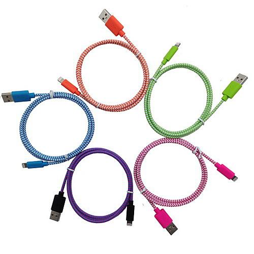 Подсветка Адаптер USB-кабеля Для передачи данных Кабель для зарядки Кабель Плетение Кабели Кабель Назначение iPad Apple iPhone 100 cm кабель usb ozaki для iphone ipod ipad черный 1 0м ot222abk